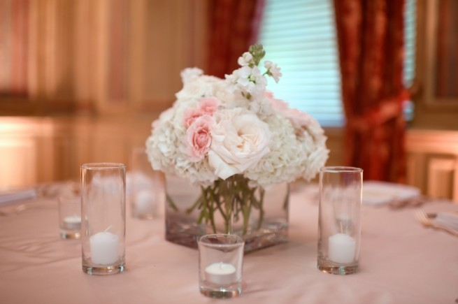 Small Centerpieces | Blush Wedding Floral | Posh Floral Designs | White O'Hara Roses
