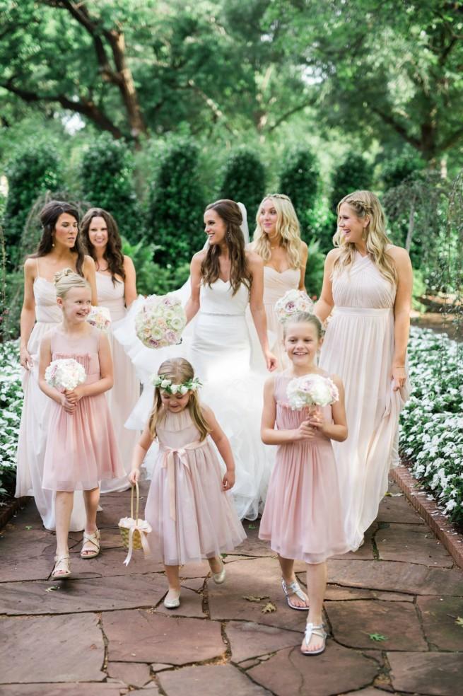 Floral Print Invitations | Blush Bridesmaids Dresses | Farm Tables | Garden Wedding | Posh Floral Designs