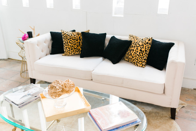 Room Ideas | Modern Room Ideas | Frame wall | White Couches | Posh Floral Designs | Z Gallerie | Target | Leopard Print Pillows | Fuschia Pillows | Posh Floral Designs
