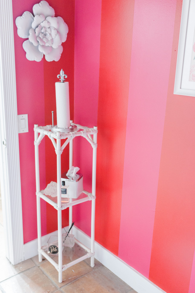 Flower for Walls | Metal Flowers | Pink and Red Stripe Walls | DIY Paper Towel Holder | Nest Candles | Vanity for Bathrooms