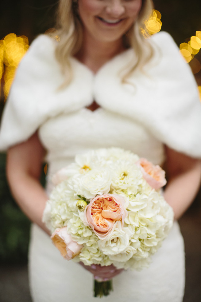November Wedding | Peach Flowers | Silver Mercury Glass | Julet Roses | Raspberry Peones | Posh Floral Designs | Marie Gabrielle | Sara and Rocky Photography