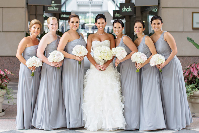 Gray Bridesmaids Dresses | Blush and White Bridesmaids Bouquets | Posh Floral