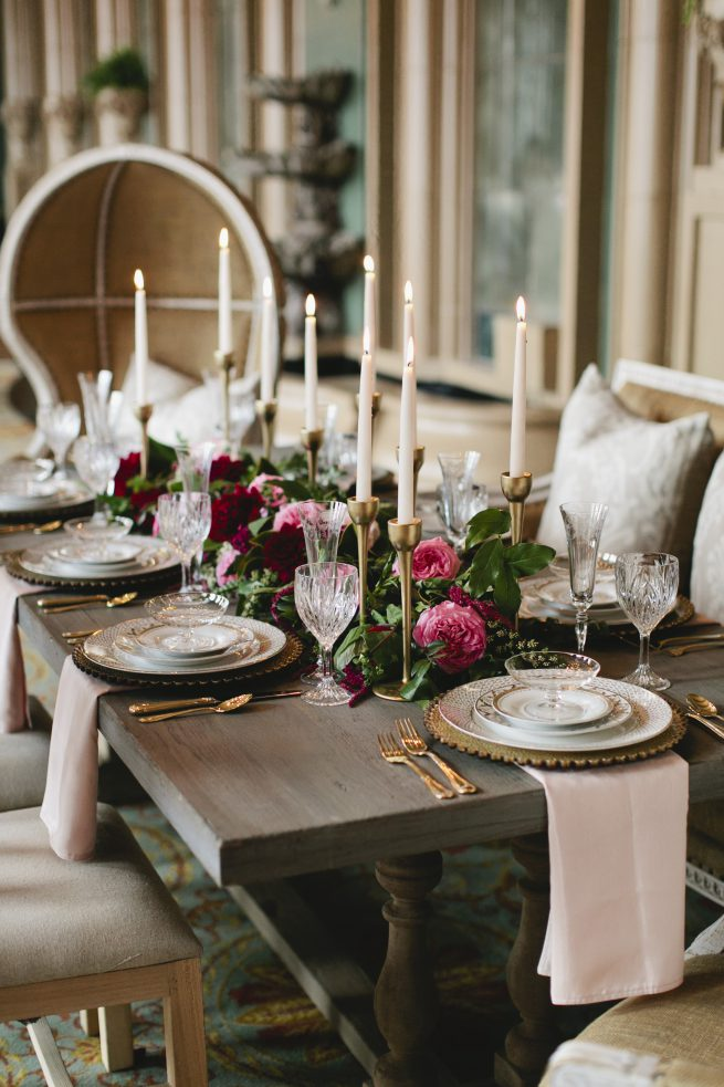 Pink and Burgundy Wedding | Wedding Centerpiece | Golden Candlesticks