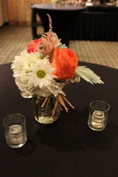 Cocktail Table Decor, Country Chic Wedding, Vintage Wedding, Rustic Wedding, Coral Centerpieces, Daisies, Coral roses, pink astilbe, dusty miller, scabiosia pods, raffia, mason jars, hotel ZaZa, wedding venues in Dallas, Wedding receptions, Wedding rehearsal dinner ideas, rehearsal dinner ideas, posh floral designs,
