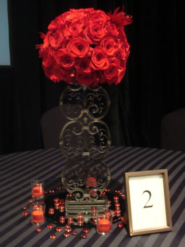 """Red Freedom Roses"", ""Iron candlestick"", ""Red Feathers'"