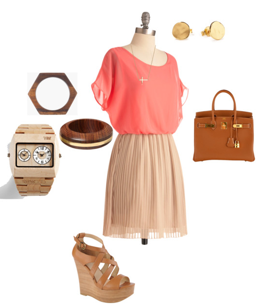 Pink and Cream Dress, Coral and Cream Dress, Afforable Dress, Hermes, Hermes Burkin, Wood Accessories, Wooden Watch, Sideways Cross Necklace, What to wear to a picnic, What to wear to a luncheon, What to wear to sunday brunch, What to wear to church, What to wear on a date, What to wear to brunch, Piperlime, Modcloth, Marc by Marc Jacobs Jewelry, Aldo shoes, Aldo wedges, Wedges, Brown Wedges, Tan Wedges, Posh Floral Designs, Posh Outfit, Angie Strange, Stylist