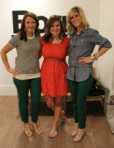 Kelly Simants, Meaghan Cody, Angie Strange, The Gap, Rue Magazine, Styld-by, Who What Wear, Posh Floral Designs, Sweet Pea Events, Fashion Events in Dallas, Green Pants, Green for Fall
