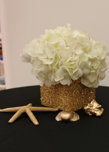Be Cool, Gap, Northpark Center, Dallas Malls, White Hydrangeas, Gold Shells, Gilded Shells, Gilter Vases, White Hydrangeas, Posh Floral Designs, Angie Strange
