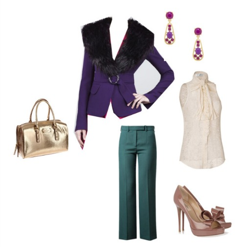 What to wear to dinner, New Fall outfits, Ideas for clothes, Bridal Bouquet Ideas, Kate Spade, Kate Spade Earrings, Kate Spade Bags, Gold Bags, Rachel Zoe Nada Jacket, Purple Jacket, Purple Fur Jacket, Emerald Green Pants, Valentino Pumps, Jewel tone outfits
