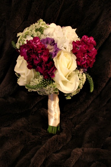 Polo Roses, Queen Anne's Lace, Purple Stock, White Hydrangeas, Scabiosa Blue, Lysimachia White, Posh floral Designs, Dallas TX, Posh Floral, Weddings, Wedding bouquets in Dallas, Best florist in Dallas