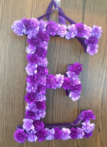 Flowers for the door, Initials for the wedding doors, Carnations initals Carnation Monogram, Ideas for flower letters, flower letters, posh floral designs, Angie Strange, Dallas Tx, Weddings in the Fall, Ideas for Fall weddings