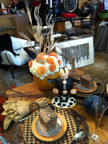 Kappa Tablescapes, Halloween decor, Fall Decor ideas, Pumpkin with real flowers, White Hydrangeas, Orange Dahlias, Wheat in Centerpieces, Feather Placemats, Leopard Take out boxes, Black Cat Decor, Brown and Gold Polka Dot Plates, Kappa Kappa Gamma Alumnui, Stanley Korshak, What to wear for Fall, What to wear to a Halloween Party, What to wear to a fall Party, Flowers to Fashion, Posh Floral Designs, Angie Strange