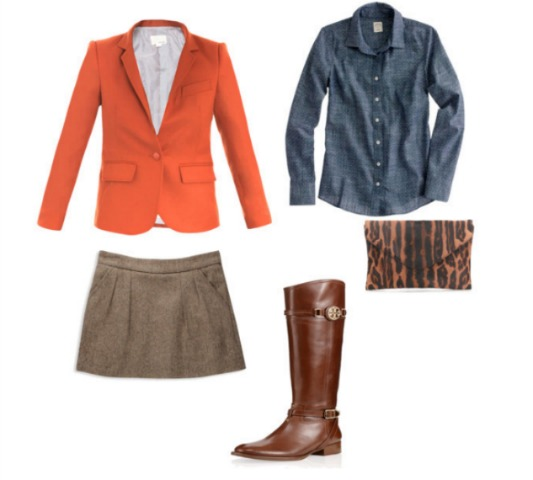 MATCHES school boy jacket, Jcrew, Chambray, Herring Bone Skirt, Forever 21, Jcrew Clutch, Tory Burch Riding Boots, Angie Strange, Posh floral Designs, Flowers to Fashion, Want to wear to a fall party, what to wear to a halloween party, cute outfit ideas, fall outfits, orange blazers, cute riding boots, leopard clutches