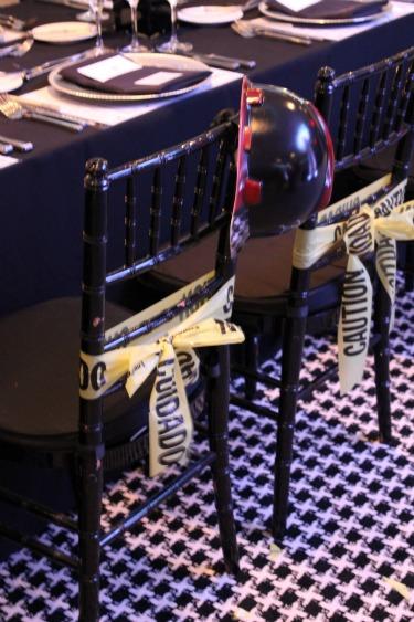 Chair decor, Chair decor ideas, Creative ways to serve food, Hard Hat decor, Construction birthday party idea, New Hotel ZaZa Dallas Ballroom, Venues in Dallas, Hotel ZaZa, Posh Floral Designs, Uptown Ballroom