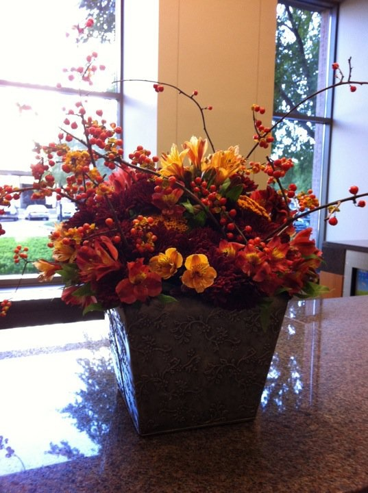 Fall Arrangement, Yellow Alstrameria, Orange Alstrameria, Rice Flowers, Fall Flowers, Fall Decor, Fall Berries, Autumn Decor, Autumn berries, Bittersweet berries, Berries for the fall, Bittersweet Orange berries, Tin container, Office Decor, Posh Floral Designs, Angie Strange, Dallas Florist,