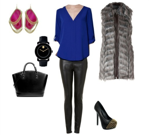 Posh Floral Designs, Flowers to Fashion, Makeover Monday, What to wear this Fall, What to wear this winter, Rachel Zoe, Rachel Zoe Fur Vest, Kendra Scott Earrings, Steven Madden, Studded Pumps, Zara Blouse, Top Shop, Leather Leggings, Movado watch, black and gold watches, Zara Handbags,