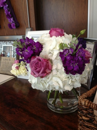 Guestbook decor, Centerpieces for receptions, White Hydrangeas, Cool Water Roses, Purple Stock, Purple Lisanthus, Posh Floral Designs, Dallas TX, Weddings in Dallas, Fall weddings, Angie Strange