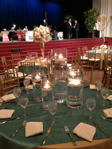 Candle Centerpieces, Candle Centerpiece ideas, Floating Candles, Pink Gold and White Decor, Pink Wedding, Gold Wedding, Posh Floral Designs, Angie Strange, Prestonwood Dallas Campus