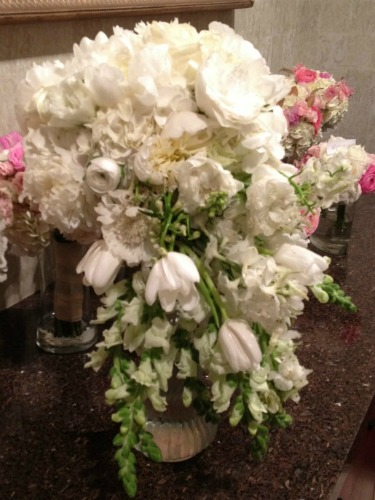 Cascading Bouquet, New Ideas for Bridal Bouquets, Ideas for Bridal bouquets, Tulips in bouquets, Peonies in a bouquet, Peony bouquet,Pink Gold and White Decor, Pink Wedding, Gold Wedding, Posh Floral Designs, Angie Strange, Prestonwood Dallas Campus