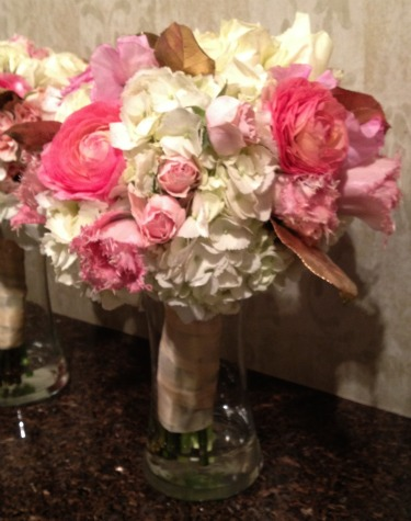 Gilded Leaves, Pink Ranuculus, Pink Parrot Tulips, White Hydrangeas, Bridesmaids Bouquets, Pink Gold and White Decor, Pink Wedding, Gold Wedding, Posh Floral Designs, Angie Strange, Prestonwood Dallas Campus