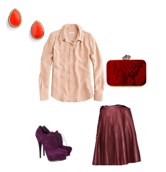 Jcrew, Cream Tops, Fall Outfit Ideas, Madwell Earrings, Orange Earrings, Maroon Leather Skirt, Jcrew Skirt, House of Harlow Clutch, Red Clutch, Yves Saint Laurent Suede brogue ankle boots, Makeover Monday, Posh Floral Designs, Angie Strange