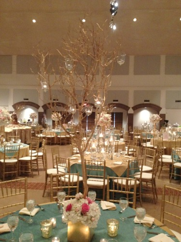 Mazantia tree centerpieces, Tree centerpiece, wedding centerpieces,Pink Gold and White Decor, Pink Wedding, Gold Wedding, Posh Floral Designs, Angie Strange, Prestonwood Dallas Campus, candles on trees,