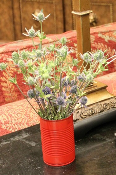 Blue Thistle, Recycle Soup Cans, Ideas for vases, Posh Floral Designs,