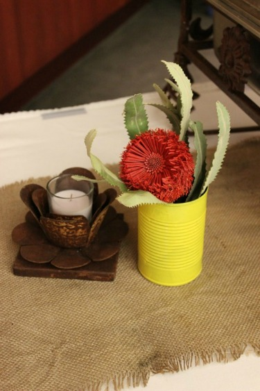 Ideas for soup cans, Western flowers, Burlap Table Runners, Posh Floral Designs