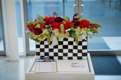 Dallas Museum of art bloom benefit, Black and White Vases, Red and Green Flowers, Posh Floral Designs