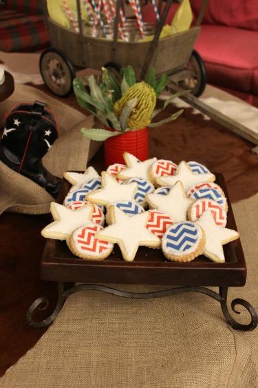 Chevron Cookies, Star sugar cookies, Layered Bake Shop, Posh Floral Designs, Baby Shower Ideas