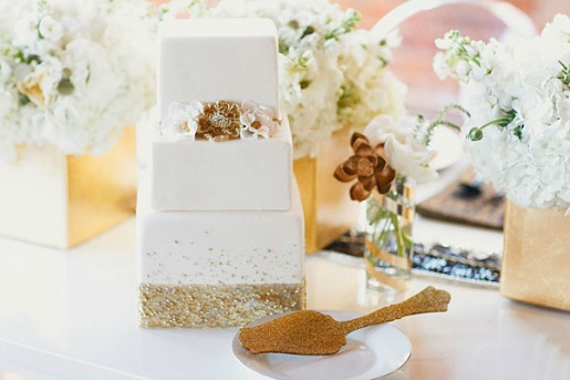 Gold and white cake, white flowers, gold serving pieces, Posh Floral designs, Layered Bake Shop