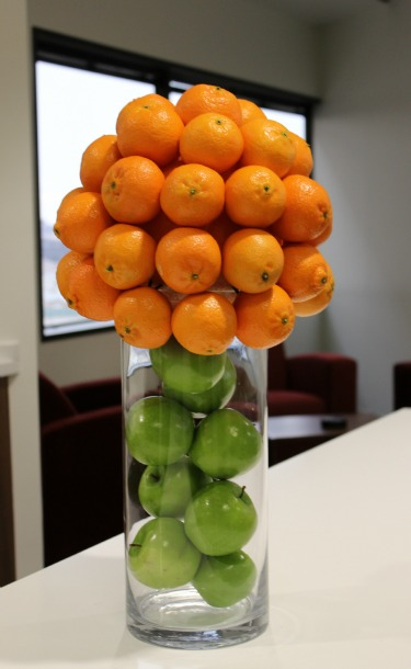 Fruit Topiary, Fruit Centerpieces, Posh Floral Designs, Fruit and Flowers, Green Apple Decorations, Orange Decorations