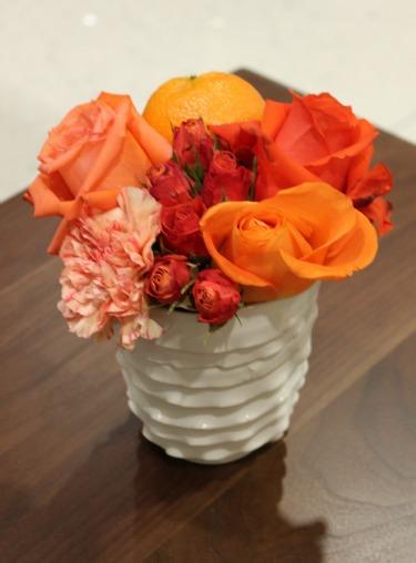 Orange Centerpieces, White Vases, Orange Carnations, Orange Roeses, Coral Roses, Posh Floral Designs