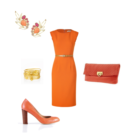 Bangles, Torch Burch, Kendra Scott, Orange Clutch, Banana Republic, Orange Pumps, Ann Taylor, Michael Kors, Orange Dress, Stylebop.com