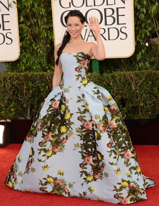 Lucy Liu, Carolina Herrera, Golden Globes, Posh Floral Designs