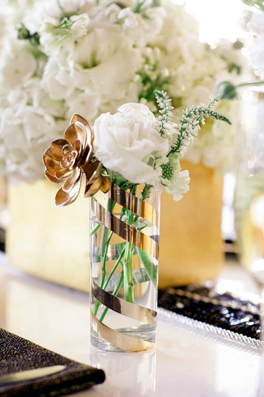 NYE Decor, Posh Floral Designs, Gold and White Flowers