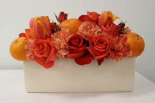 Orange Centerpieces, White Vases, Orange Carnations, Orange Roeses, Coral Roses, Posh Floral Designs, Modern Centerpieces, Orange Roses, Orange Carnations, Orange Tulips