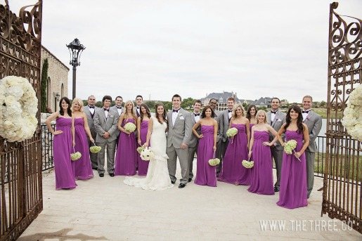 Wedding Party, Purple and Green Wedding, Long Purple Dresses, Gray and Purple Weddings, Bella Donna Chapel, Posh Floral Designs