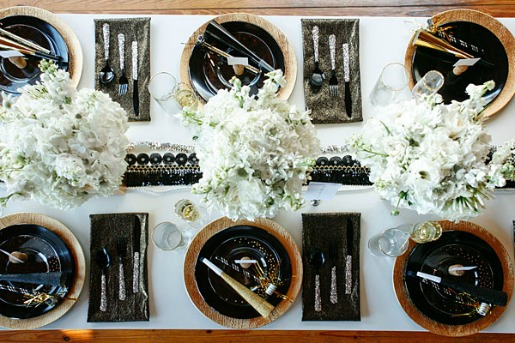 NYE Table Decor Ideas, Posh Floral Designs, Gold Black and White Deor