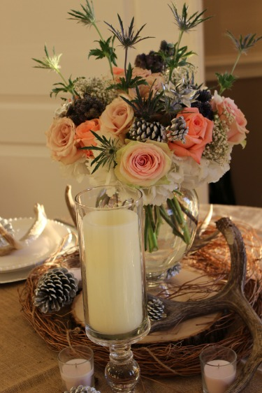 Antlers and Flowers, Vintage floral Decorations, Pinecones and Flowers, Posh Floral Designs, Cream and White Centerpieces, Peach and White Centerpieces