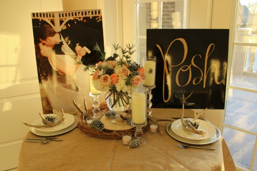 Antlers and Flowers, Vintage floral Decorations, Pinecones and Flowers, Posh Floral Designs, Cream and White Centerpieces,