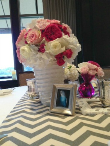 Ikat Table Runners, Pink and White Centerpieces, Unique Centerpieces, Posh Floral Designs, Angie Strange, Chevron Table Runners