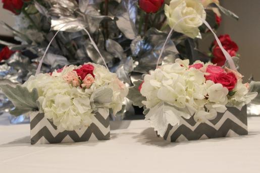 Chevron Flower Girl Basket, Flower Basket Ideas, Posh Floral Designs, Angie Strange