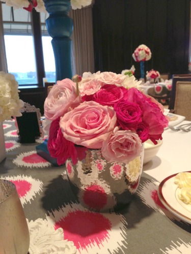 Ikat Table Runners, Pink and White Centerpieces, Unique Centerpieces, Posh Floral Designs, Angie Strange