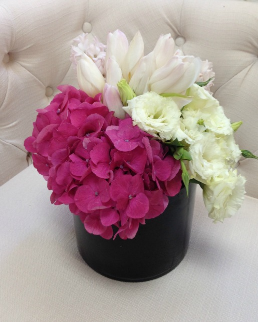 Pink and White Flowers, Pink Hydrangeas, White Lisanthus, Blush Tulips, Blush Hyanth