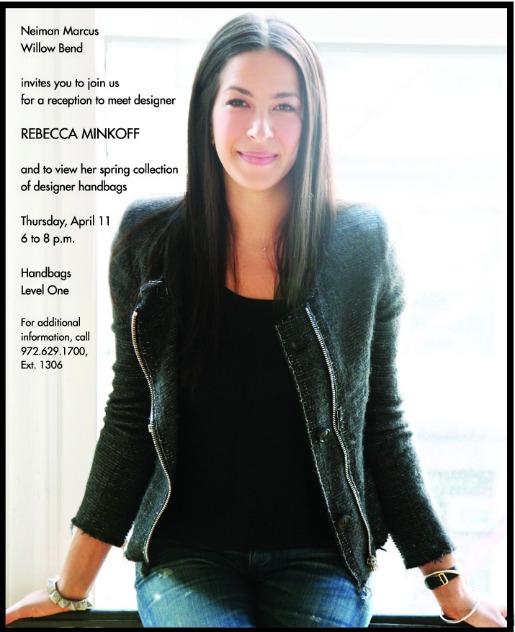 Rebecca Minkoff, Designer Handbags, Neiman Marcus, Neiman Marcus Trunk Shows, Dallas Trunk Shows. Angie Strange, Posh Floral Designs