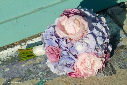 Bouquet of Light Blue Hydrangeas, Cool Water Roses, and Pink Peonies. Photography By Radiant Squares