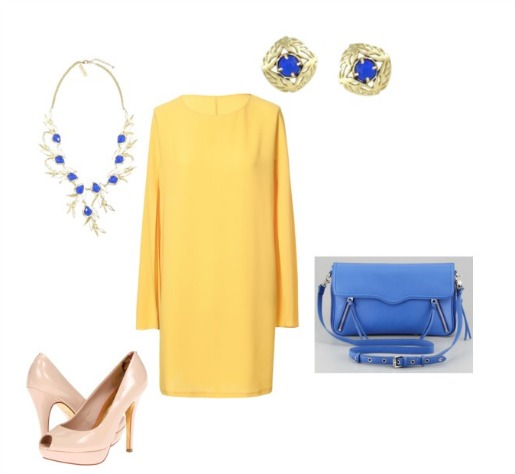 Yellow Dress, zara, Kendra Scott, Rebecca Minkoff, Blue Bags, Blue Handbags, Neiman Marcus