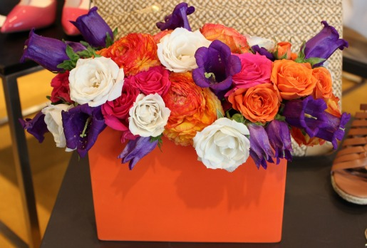 Spray Roses, Orange Ranunculus, Blue flowers, Hot Pink roses