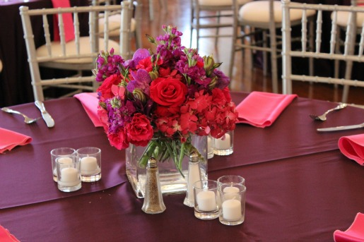 Ceremony Decor, Pink and Purple Centerpieces, Scottish Rite Museum, Sweet Pea Events, Jennifer Yarbro, LeForce Entertainment, Layered Bake Shop,